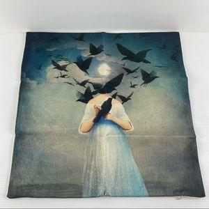 Headless Bird Lady Flax 45x45cm Cushion Cover